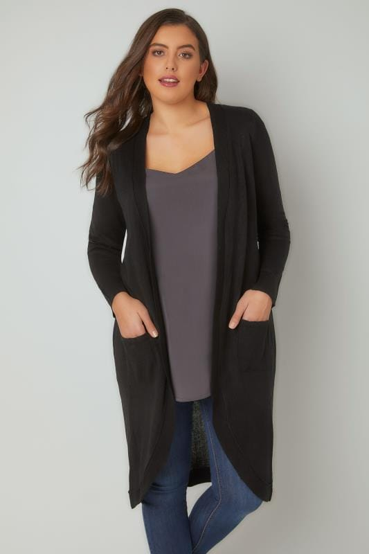 Black Longline Cardigan With Pockets