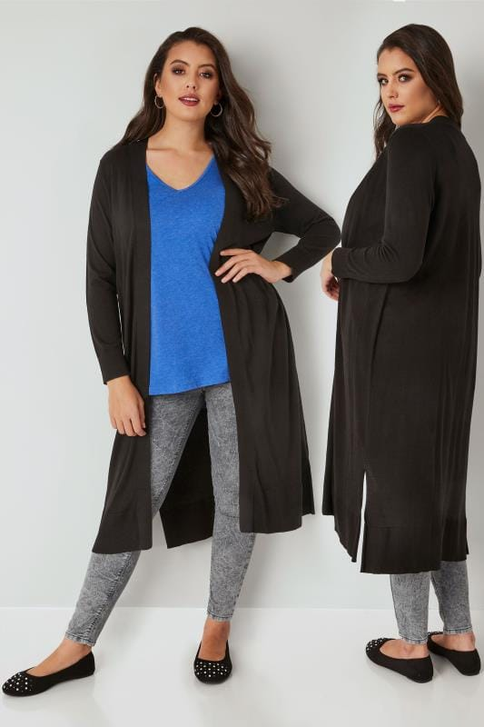 Plus Size Cardigans Black Longline Cardigan With Side Splits