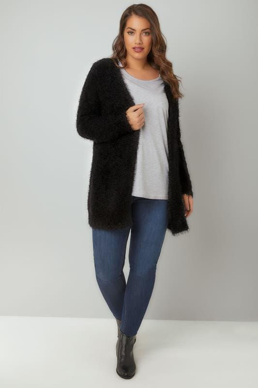 Black Longline Eyelash Cardigan