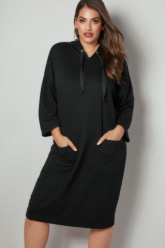 Plus Size Hoodies & Jackets Black Longline Hoodie With Front Pockets