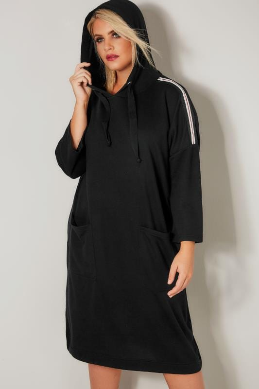 Black Longline Hoodie With Stripe Shoulders
