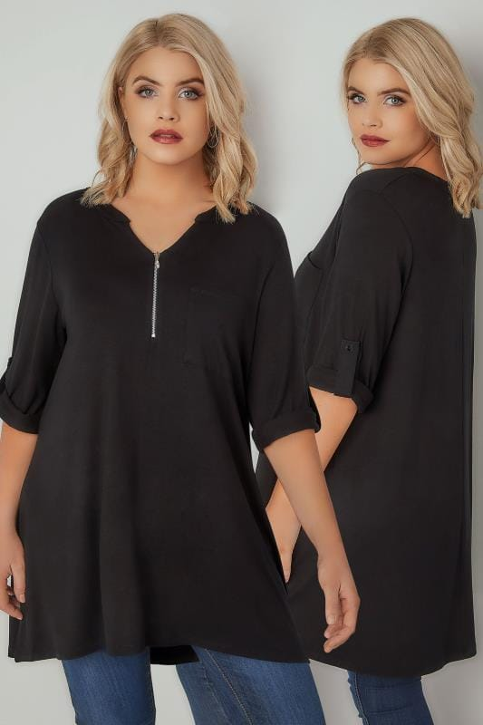 Smart Jersey Tops Black Longline Jersey Top With Zip Front 134284