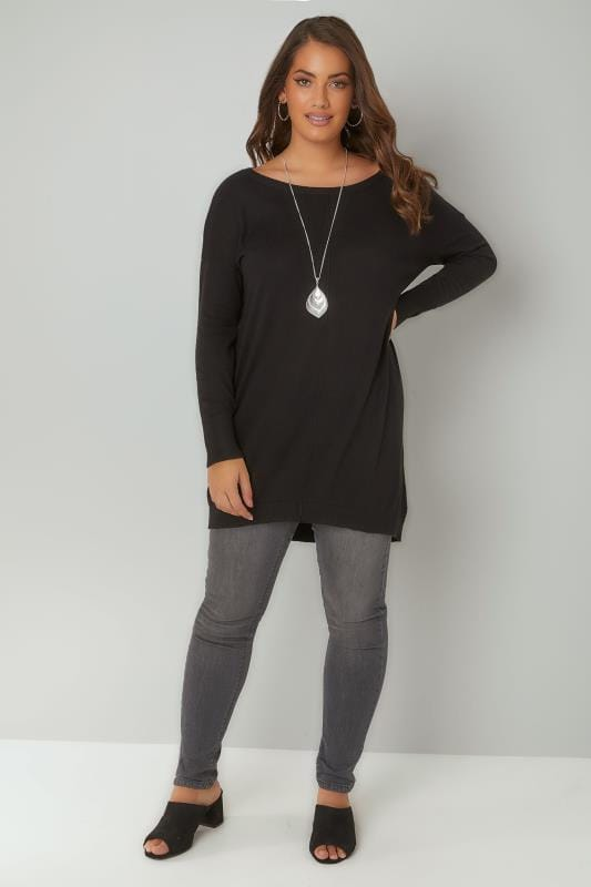 Black Longline Knitted Jumper With Seam Front Detail