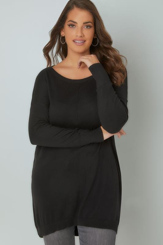Plus Size Jumpers Black Longline Knitted Jumper With Seam Front Detail