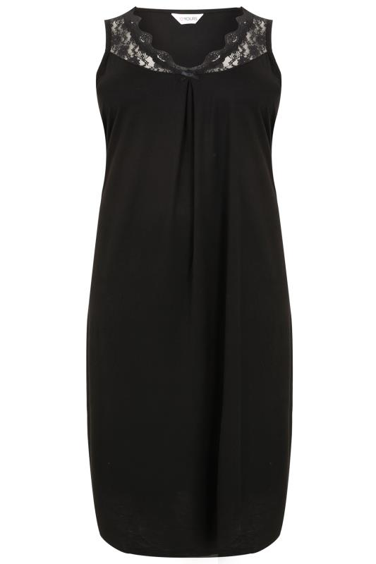 Black Longline Nightdress With Neckline Lace Detail