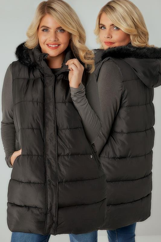 Black Longline Padded Gilet With Faux Fur Trim Hood