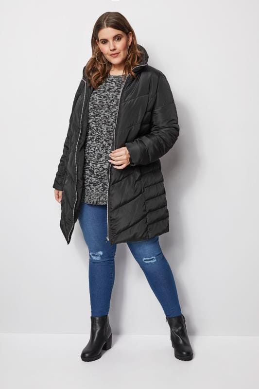 Black Longline Puffer Coat With Zip Out Hood