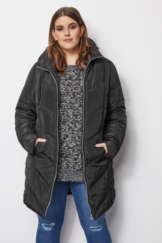 Plus Size Puffer & Quilted Jackets Black Longline Puffa Coat With Zip Out Hood