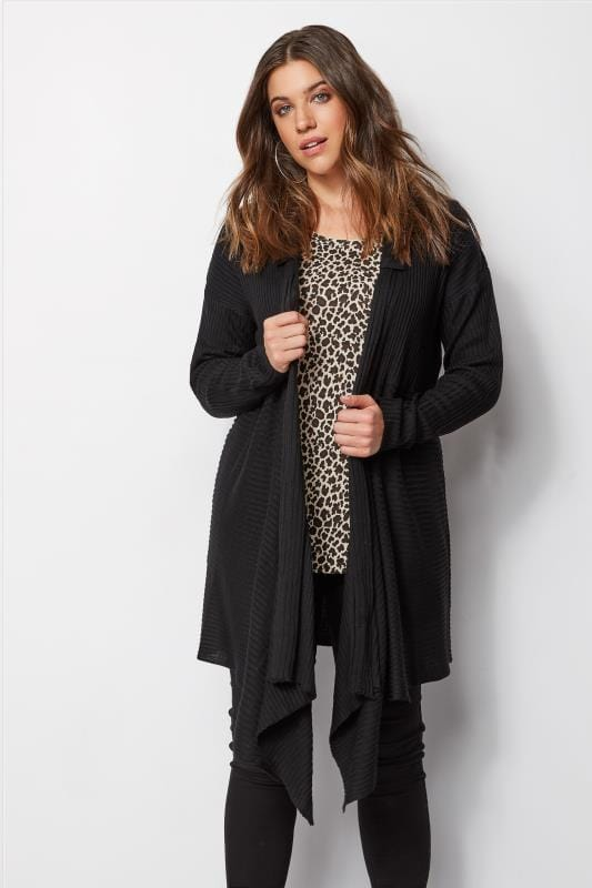 Plus Size Cardigans Black Ribbed Waterfall Cardigan