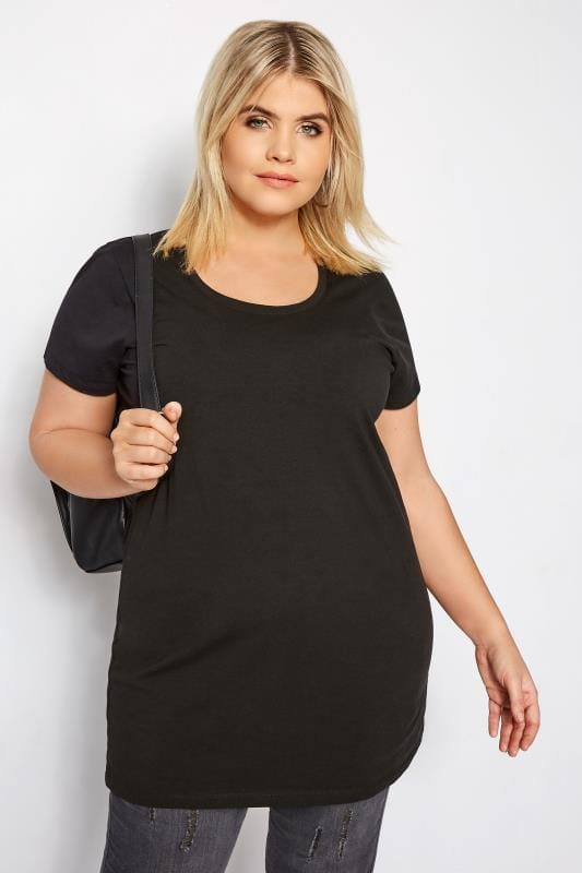 d5af1319132df Plus Size Basic T-Shirts   Vests Black Longline T-Shirt