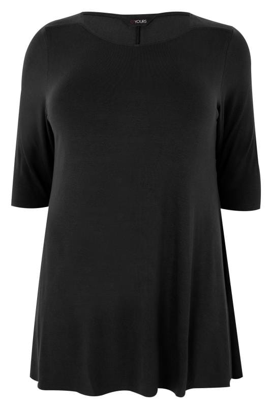 Black Longline Top With Envelope Neckline, plus size 16 to 36
