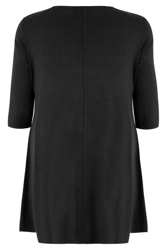 Black Longline Top With Envelope Neckline Plus Size 16 To 36