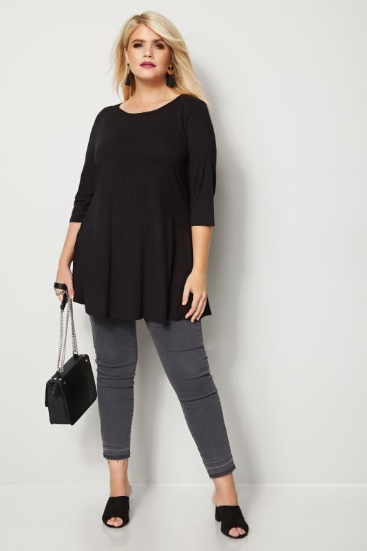 Black Longline Top With Envelope Neckline