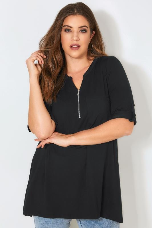 a8a951b81 Plus Size Smart Jersey Tops Black Longline Top With Zip Front