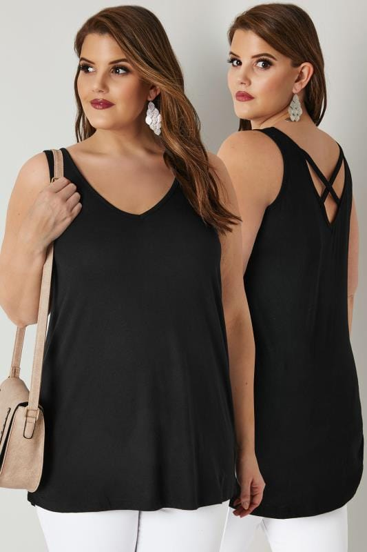 Plus Size Vests & Camis Black Longline Vest Top With Cross Over Straps