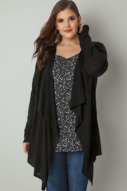 2bf406a405b Plus Size Cardigans Black Longline Waterfall Cardigan