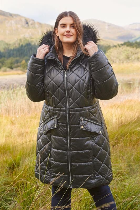 Plus Size Coats Black Longline Wet Look Puffer Coat