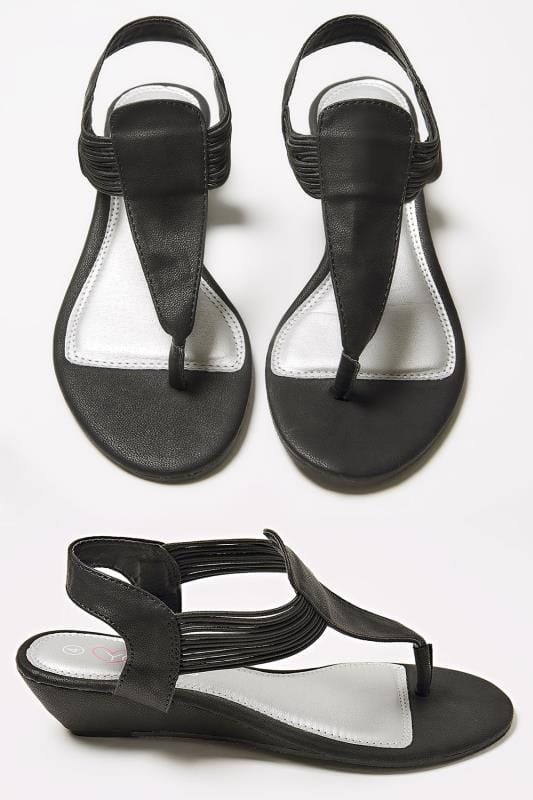Wide Fit Sandals Black Low Wedge Elasticated Toe Post sandal In EEE Fit