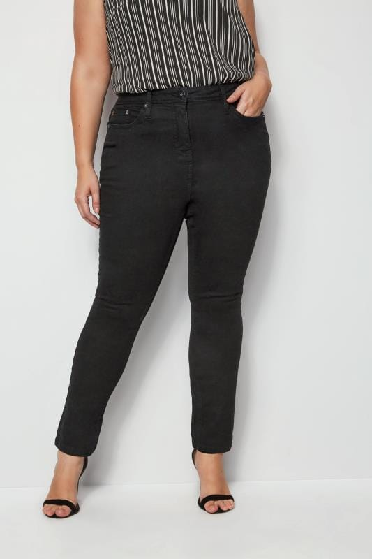 Plus Size Slippers Black 'Luxe Control' Slim Leg Jeans