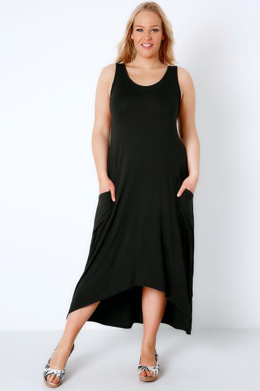 Black Maxi Dress With Drop Pockets & Dipped Hem