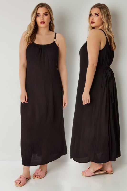 Plus Size Maxi Dresses Black Maxi Dress With Ring Detail Straps & Tie Waist