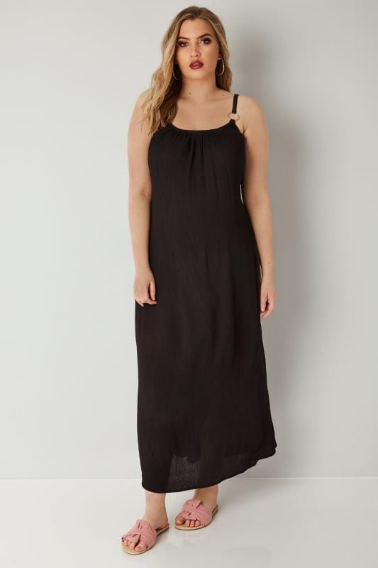 Black Maxi Dress With Ring Detail Straps & Tie Waist