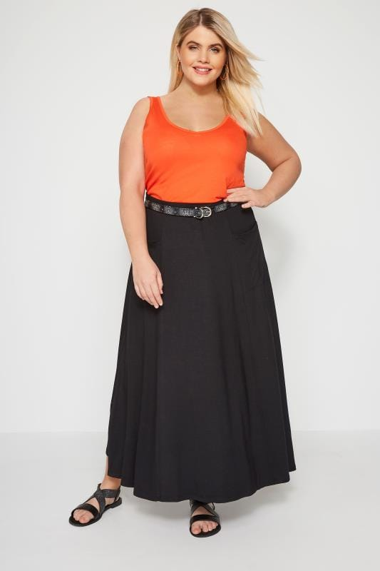 4039764e Black Maxi Jersey Skirt With Pockets, Plus size 16 to 36