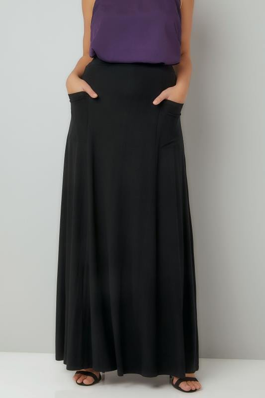 Plus Size Maxi Skirts Black Maxi Jersey Skirt With Pockets