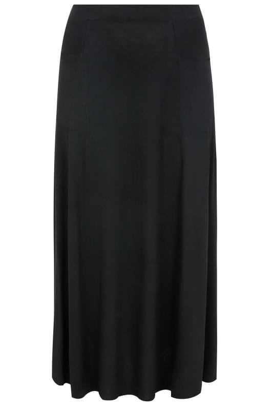 Maxi Skirts Black Maxi Jersey Skirt With Pockets 160051