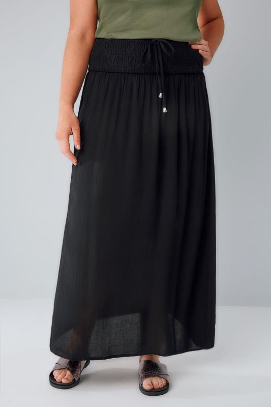 Black Maxi Skirt With Ruched Waistline