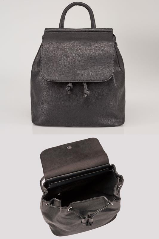 Black Medium Flap Backpack