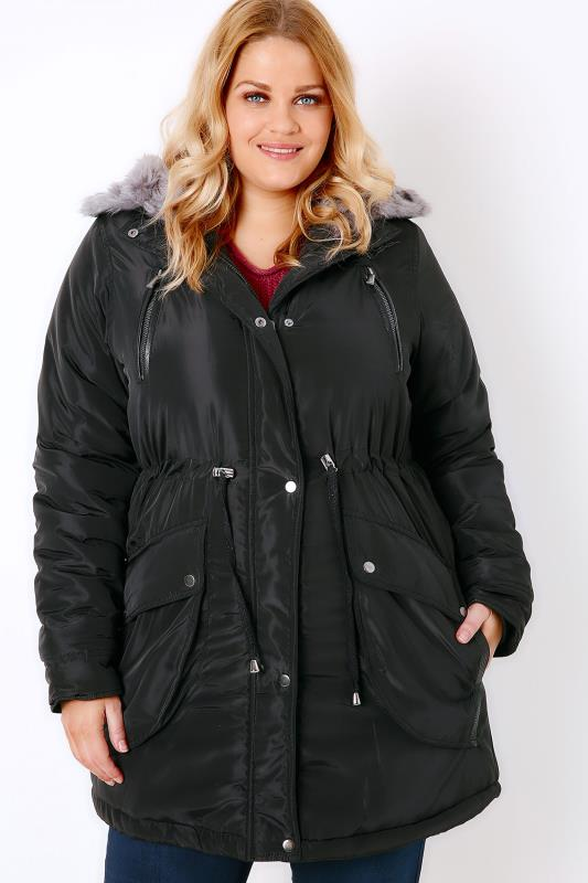 Black Memory Padded Parka With Faux Fur Hood