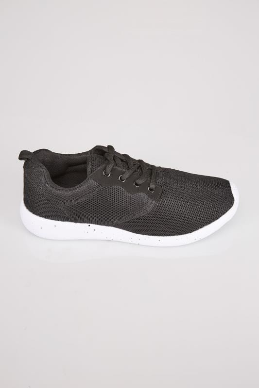 Black Mesh Detail Trainers With Flecked Cushioned Soles In E Fit