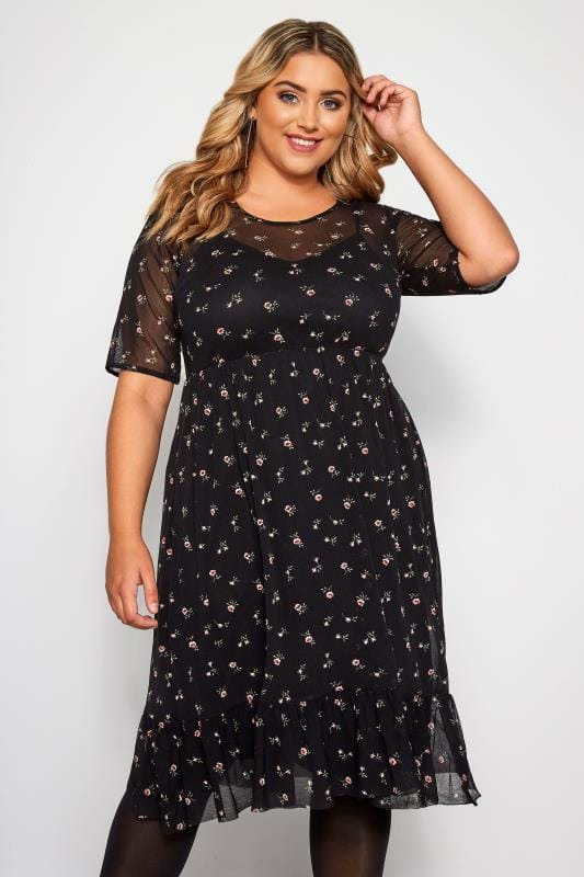 Plus Size Floral Dresses Black Mesh Ditsy Floral Ruffle Dress