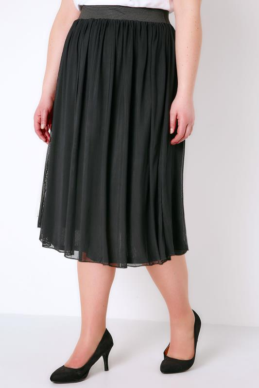 Black Mesh Tulle Skirt With Elasticated Waist Band