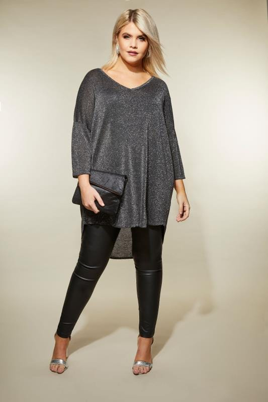 Black Metallic Cross Back Jumper
