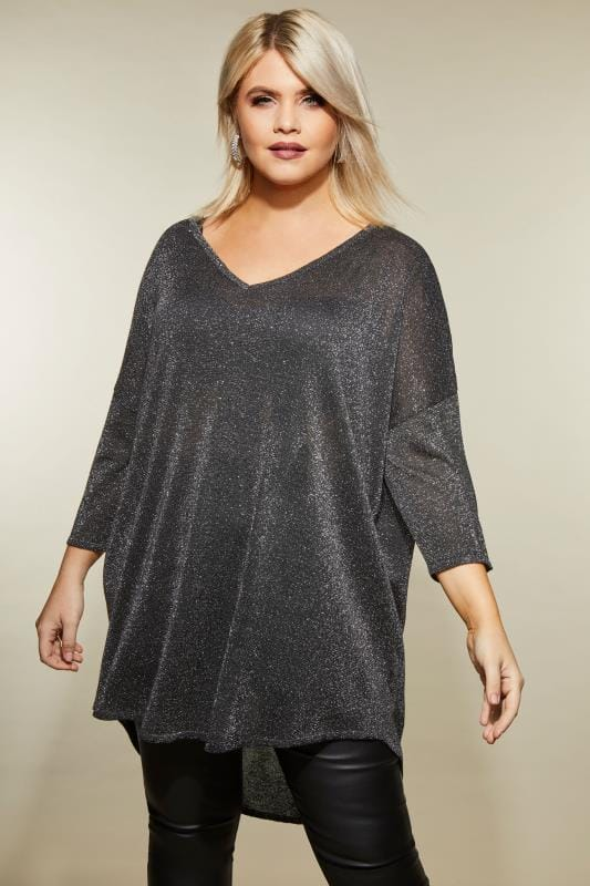 Plus Size Jumpers Black Metallic Cross Back Jumper