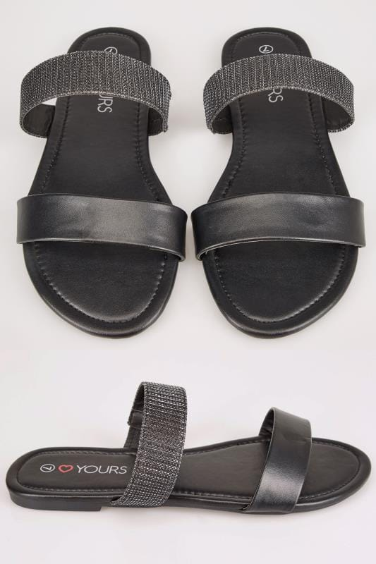 Wide Fit Sandals Black & Metallic Double Strap Slider Sandals In TRUE EEE Fit