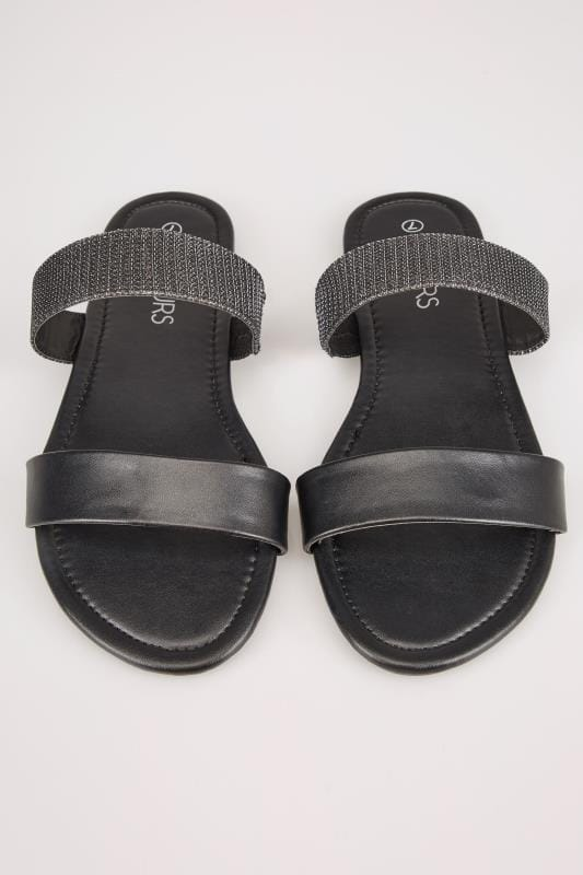 Black Double Strap Slider Sandals In EEE Fit