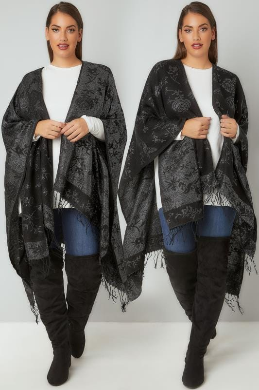 Black & Metallic Reversible Floral Knitted Wrap With Tassels