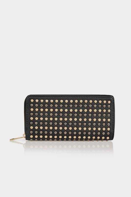 Plus Size Bags & Purses Black Metallic Studded Purse With Zip Close