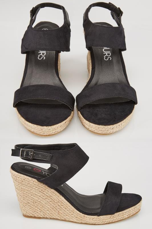 Wide Fit Sandals Black Espadrille Wedge Sandals In EEE Fit