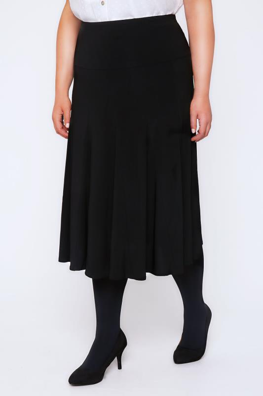 Black Midi Fit & Flare Panelled Skirt With Elasticated Waist