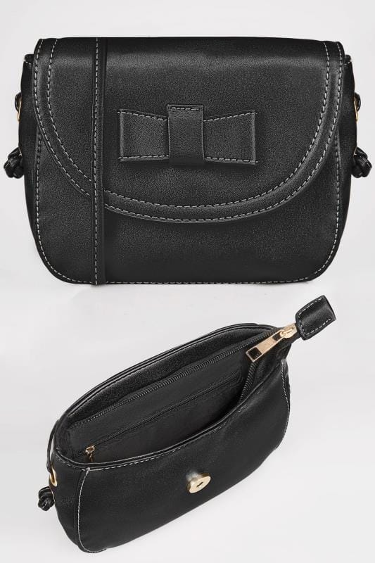 Black Mini Applique Bow Cross Body Bag With Extended Strap