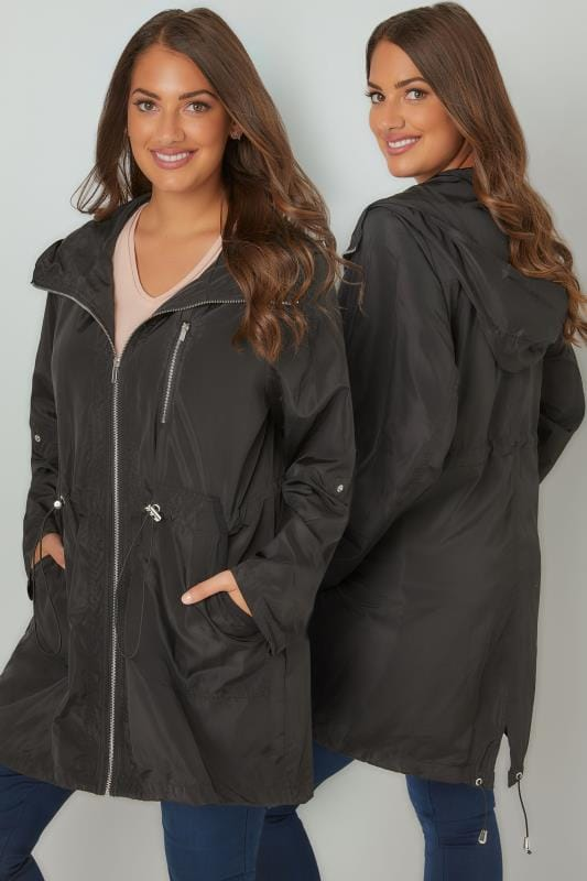 Plus Size Parka Coats Black Minimalist Parka Jacket With High Zip Up Neck