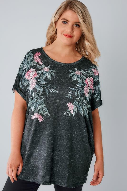 Black Mirrored Floral Print Jersey Top With Grown On Sleeves