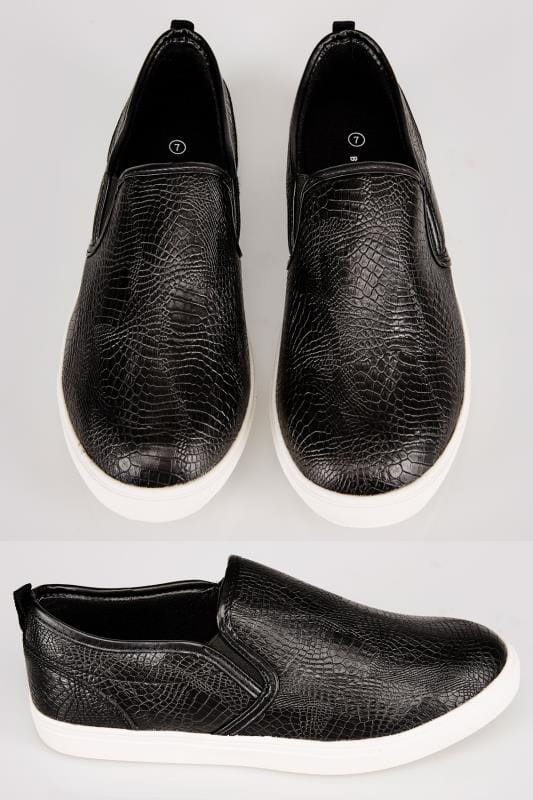 Black Mock Croc Print Slip On Plimsolls