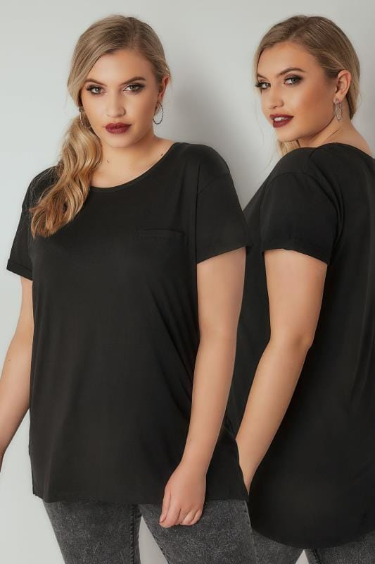 Plus Size Jersey Tops Black Mock Pocket T-Shirt With Curved Hem