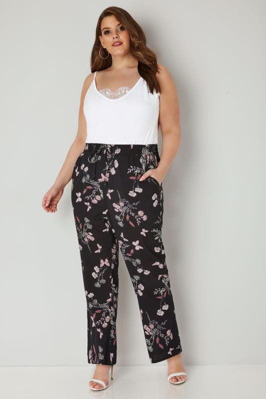 Black & Multi Butterfly & Floral Print Wide Leg Trousers