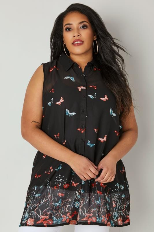 Black & Multi Butterfly Print Chiffon Sleeveless Shirt